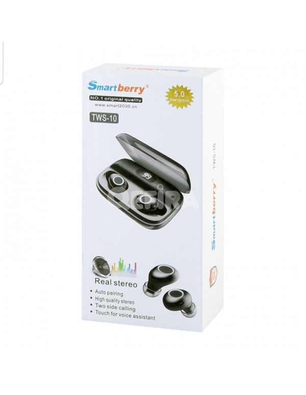 SmartBerry TWS-10 Real Stereo Wireless Bluetooth V5.0 High Quality TWS Headset Headphone with charging case, Black Color